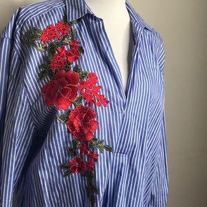 Zara Flower Shirt Dress M